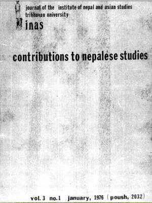 Contributions to Nepalese Studies Volume 3, Number 1, January 1976 (Poush 2032)