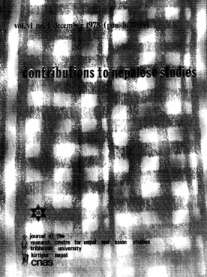 Contributions to Nepalese Studies Volume 6, Number 1, December 1978 (Poush 2035)