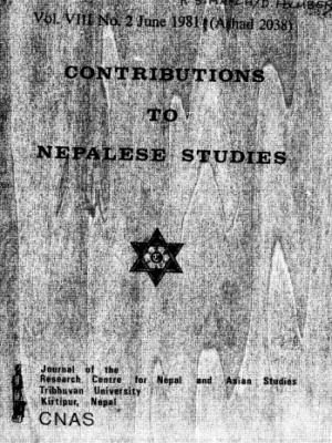 Contributions to Nepalese Studies Volume 8, Number 2, June 1981 (Asadh 2038)