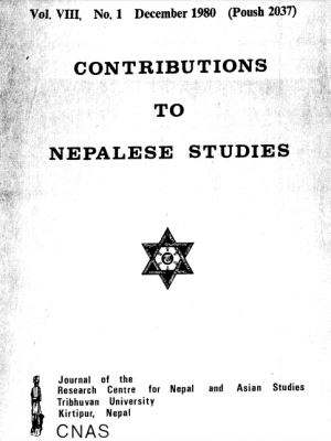 Contributions to Nepalese Studies Volume 8, Number 1, December 1980 (Poush 2037)